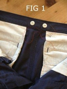 Trousers with back braces buttons
