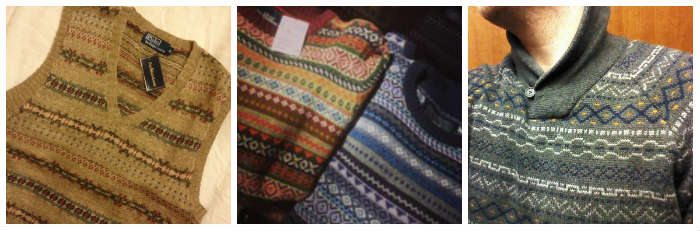 Sweater in varying styles with fair isle designs