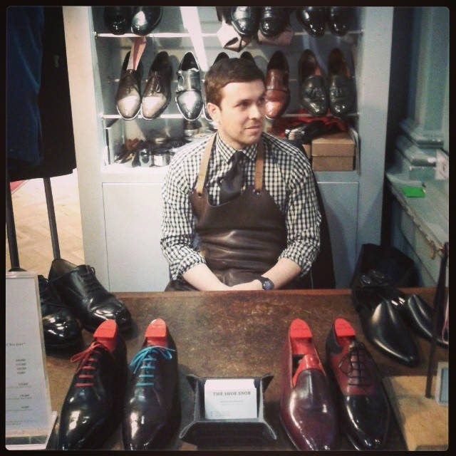 Shoe shining location on Savile Row