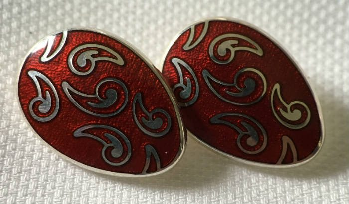 Red Enamel Cufflinks In 925 Silver