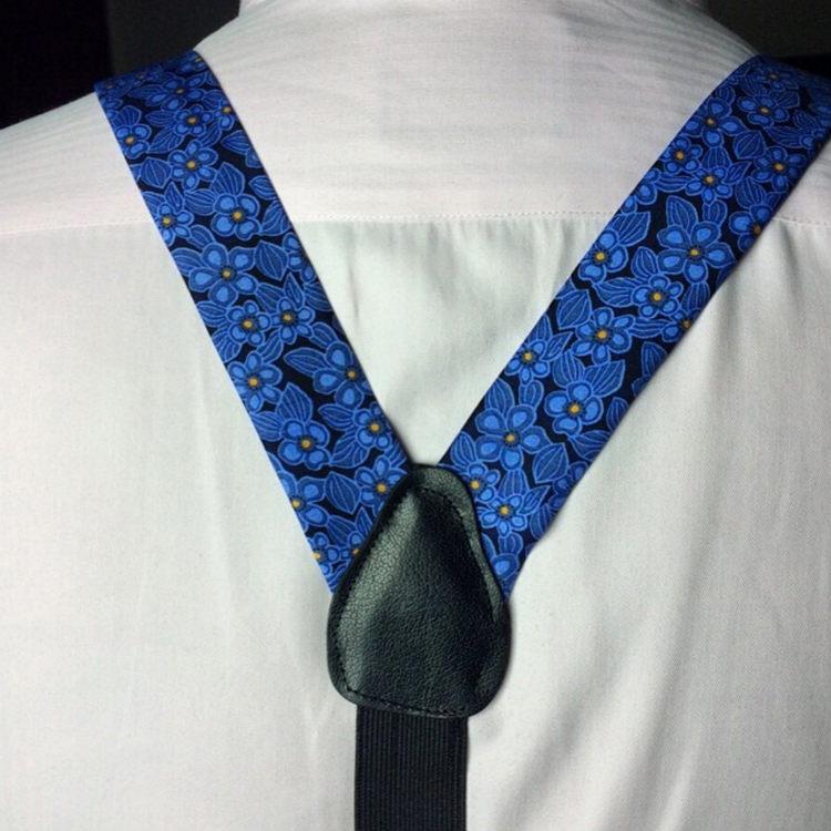 Blue Floral Braces With Black Leather Trim