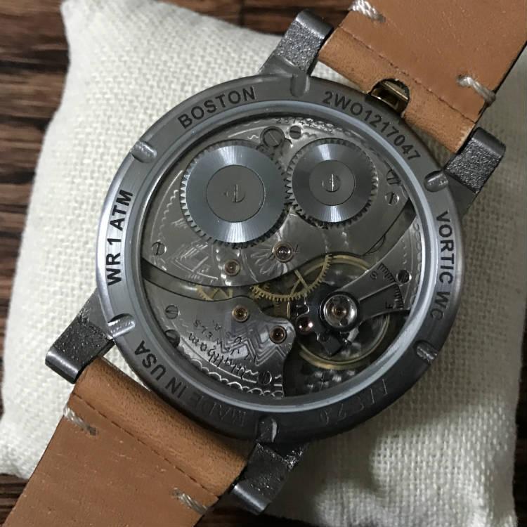 Macro shot of Waltham watch balance wheel