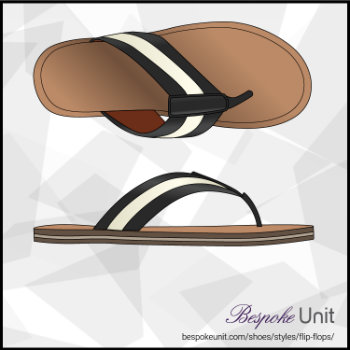 Top And SIde View Of Black And White Flip Flops
