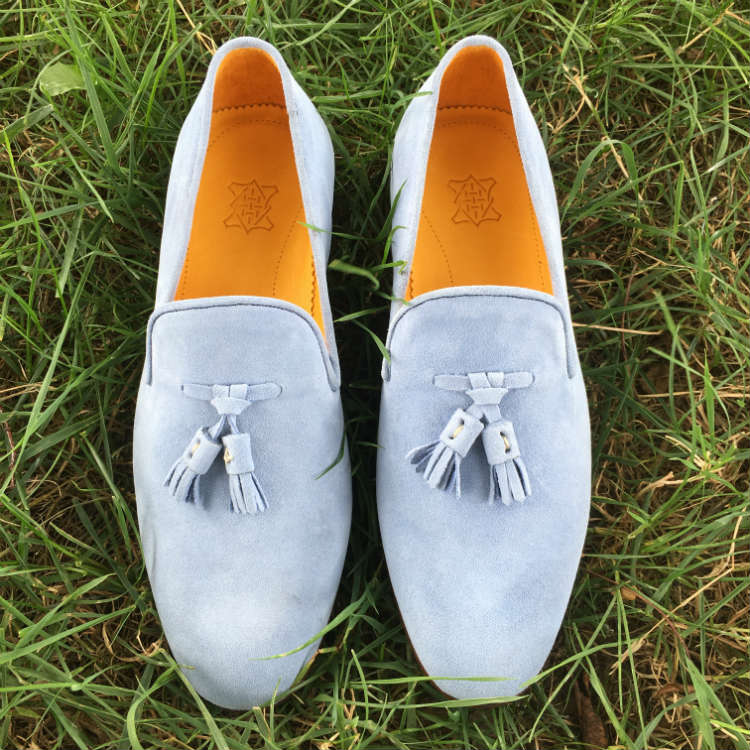 Blue Nubuck Tassel Loafers on Grass