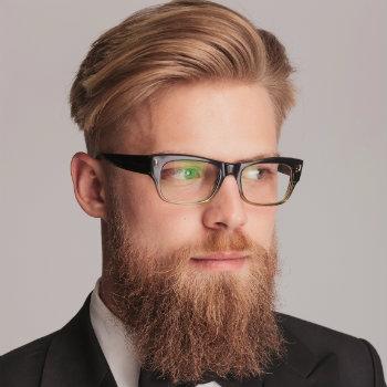 Blonde man in black glasses