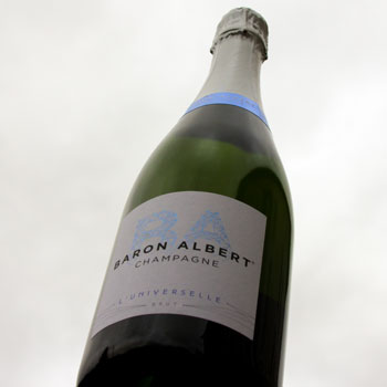 Baron Albert Universelle Champagne Bottle Sky Background