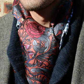 paisley neckerchief under shirt collar