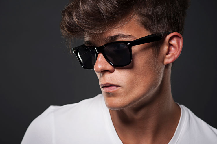 Man Wearing Cool Hipster Wayfarer Sunglasses