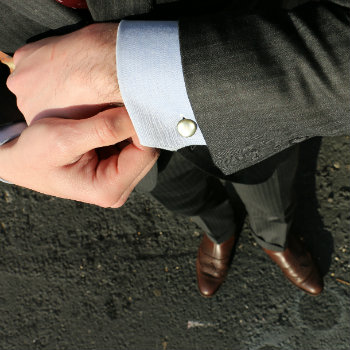 blue french cuff shirt and grey power suit