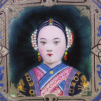 Chinese Lady Bovet Fleurier Enamel Miniature Painting