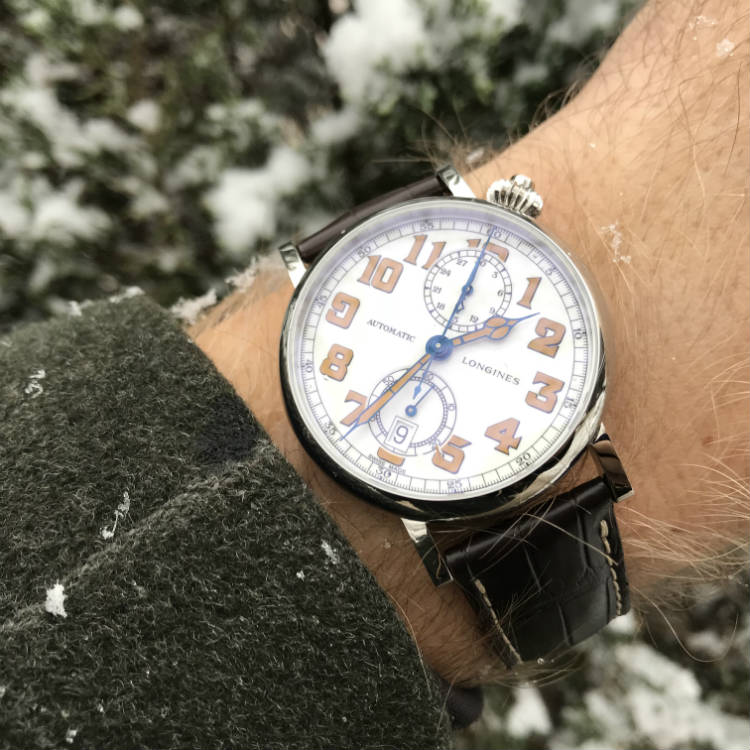 Snow falling on Longines A-7 1935 Watch